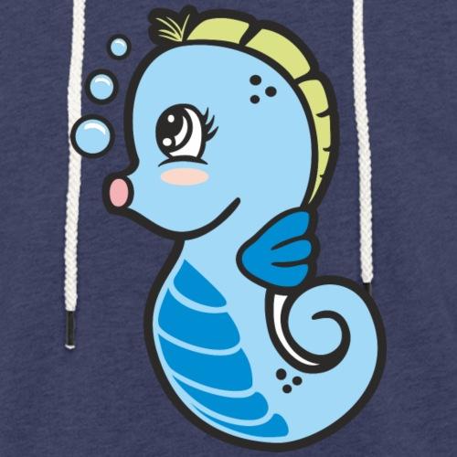 Seepferdchen blau - Leichtes Kapuzensweatshirt Unisex