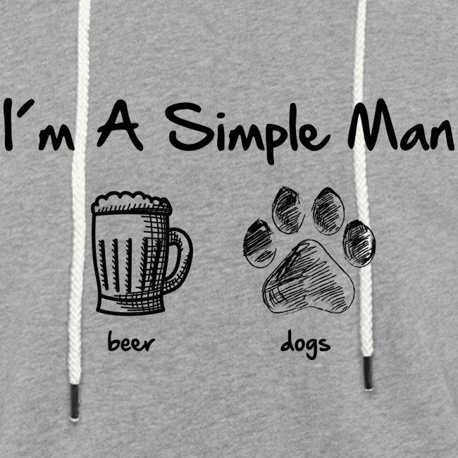 Vorschau: simple man dogs beer - Leichtes Kapuzensweatshirt Unisex