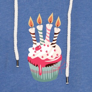Cupcake with four candles - Light Unisex Sweatshirt Hoodie