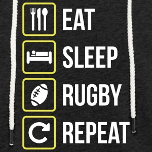 Eat Sleep Rugby Gentag - Let sweatshirt med hætte, unisex