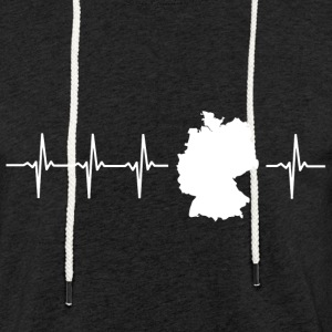 Germany, heartbeat design (I love Germany magnif) - Light Unisex Sweatshirt Hoodie