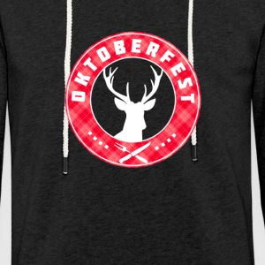 Oktoberfest red antlers crest around Bayern symbol - Light Unisex Sweatshirt Hoodie