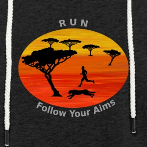 Run Follow your aims, Afrika - Leichtes Kapuzensweatshirt Unisex