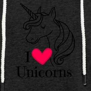 I Love Unicorns T Shirt - Heart Tee in Black - Light Unisex Sweatshirt Hoodie