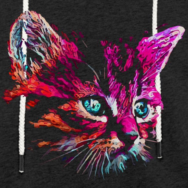 Vorschau: cat pink paint - Leichtes Kapuzensweatshirt Unisex