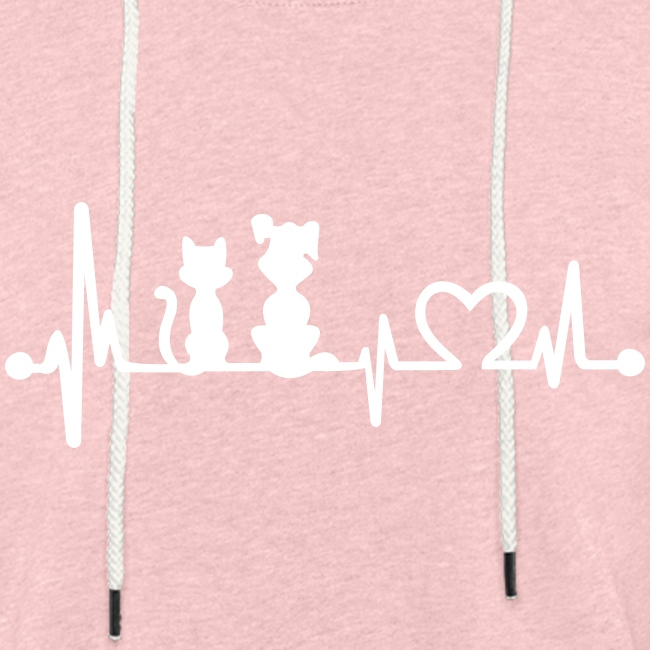 dog cat heartbeat - Leichtes Kapuzensweatshirt Unisex