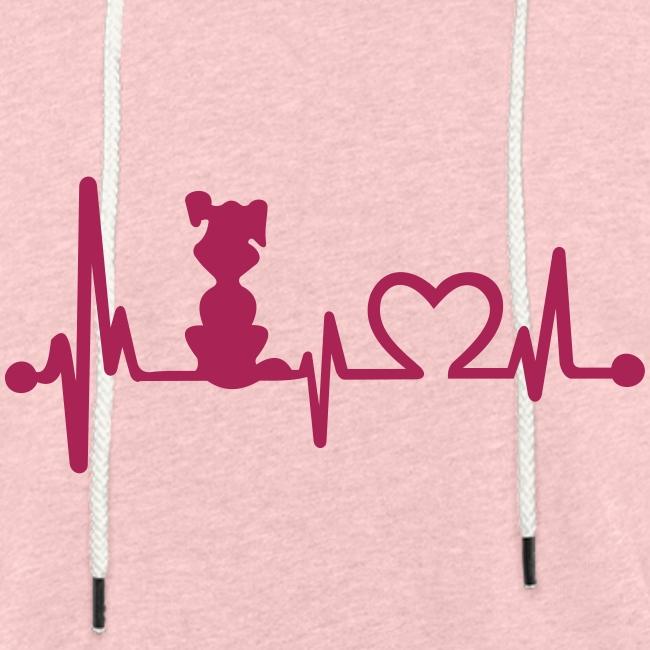 Vorschau: dog heart beat - Leichtes Kapuzensweatshirt Unisex