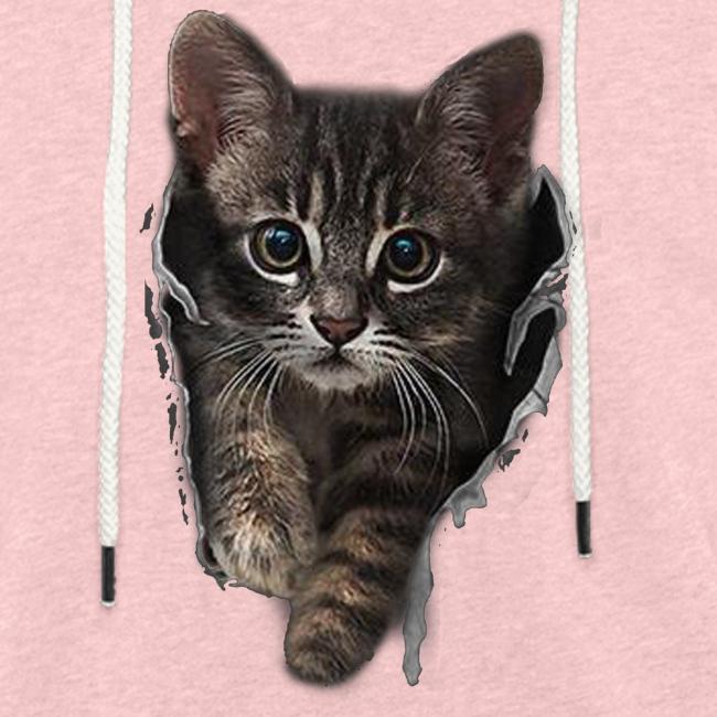 Vorschau: Katze Riss - Leichtes Kapuzensweatshirt Unisex
