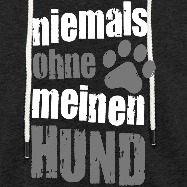 Vorschau: niemals ohne meinen hund - Leichtes Kapuzensweatshirt Unisex