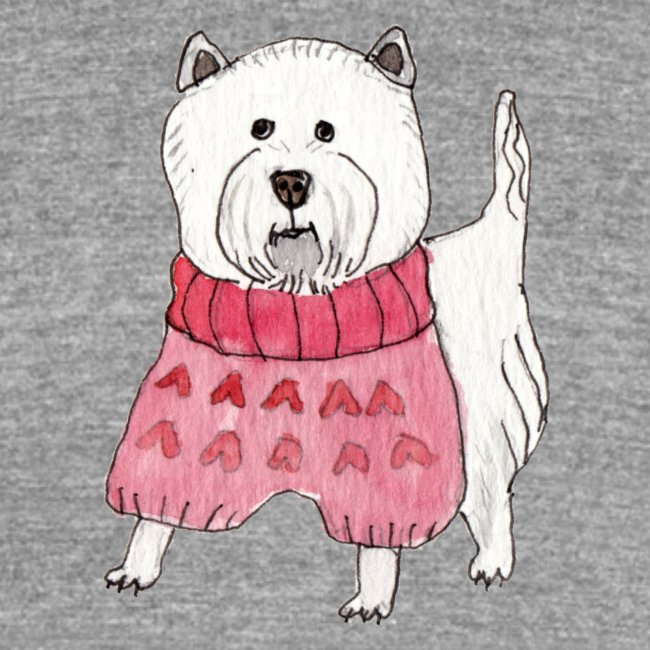 westie with sweater