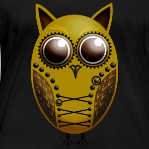 Owl Steampunk Gold Brown - Women's Organic Longsleeve