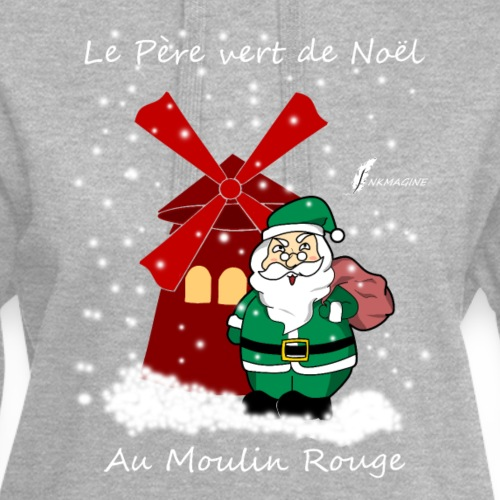 Père vert de Noël au Moulin Rouge - Sweat-shirt à capuche long Femme