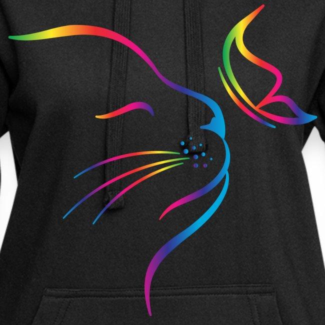 Vorschau: rainbow butterfly cat - Hoodie-Kleid