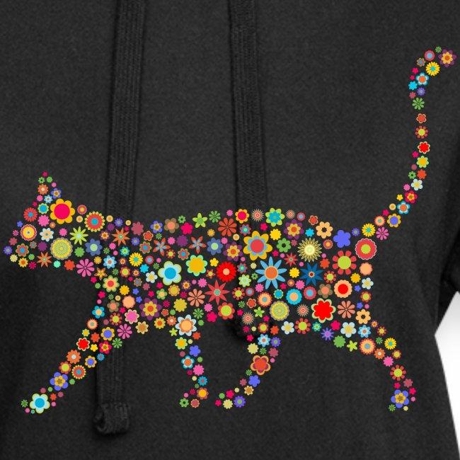 Vorschau: flower cat - Hoodie-Kleid