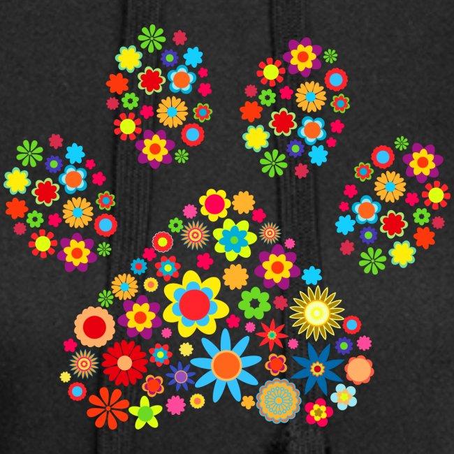 Vorschau: flower dog paw cat - Hoodie-Kleid