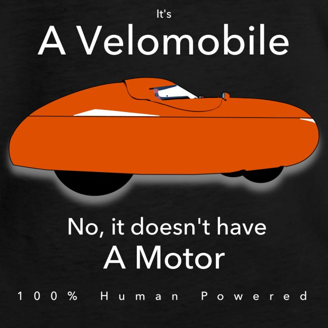 it's a velomobile white text