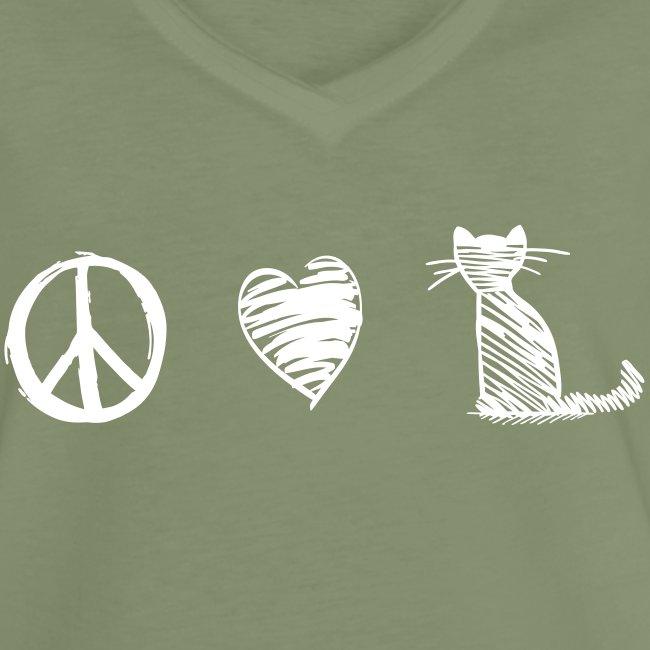 Vorschau: peace love cats - Frauen Vintage T-Shirt