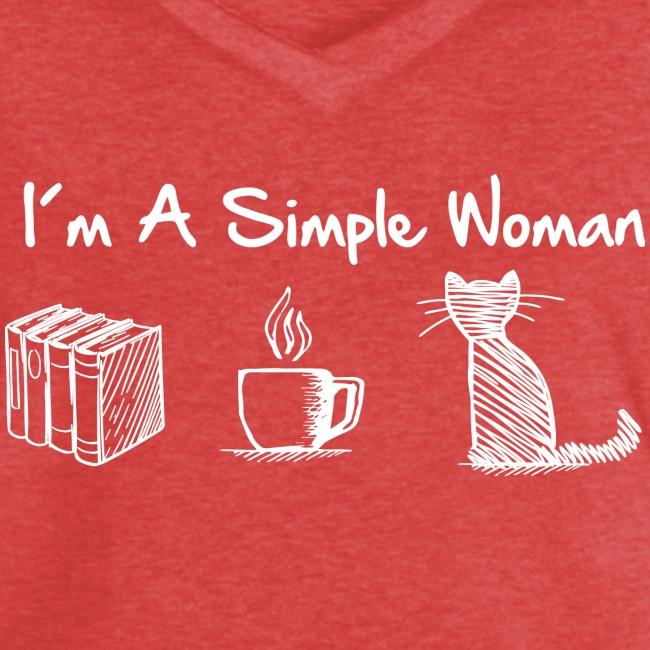 Vorschau: simple woman cat books - Frauen Vintage T-Shirt