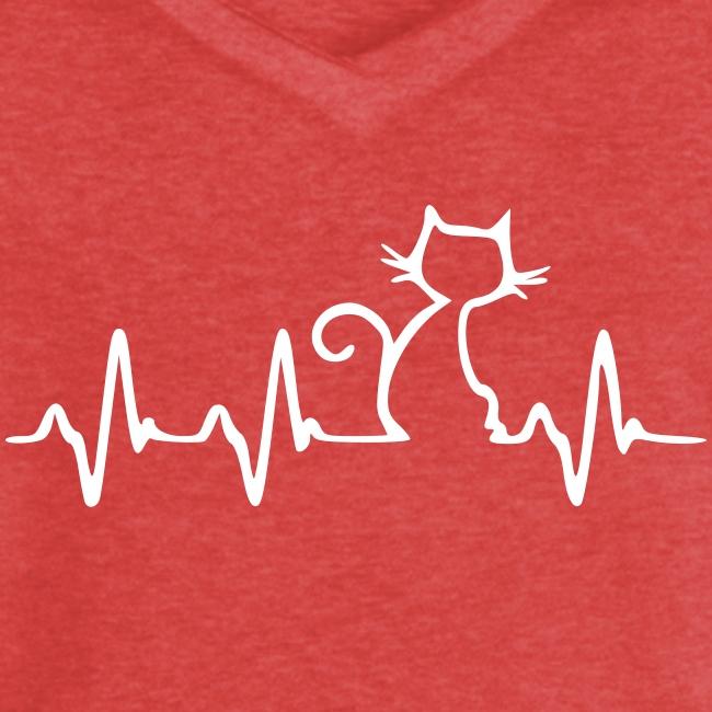 Vorschau: Cat Heartbeat - Frauen Vintage T-Shirt