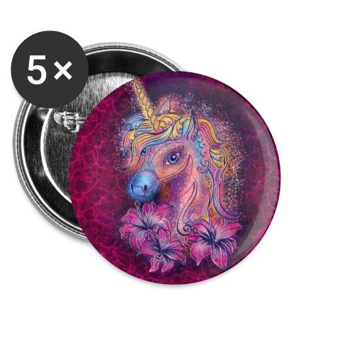 Einhorn, Hibiskus, Blüten, Blumen, Muster, pink - Buttons groß 56 mm (5er Pack)