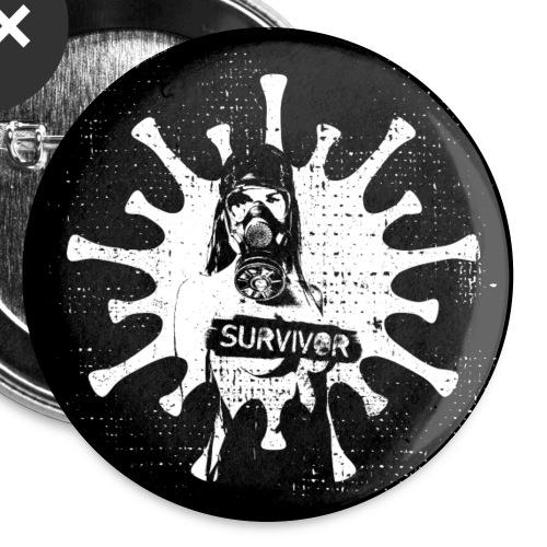 VIRUS Frau mit Gasmaske Survivor (4 Buttons) - Buttons groß 56 mm (5er Pack)