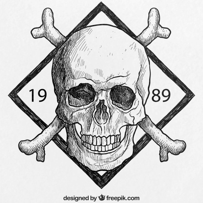 Skull with swords