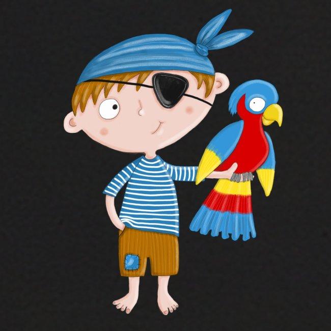 Kleiner Pirat mit Papagei