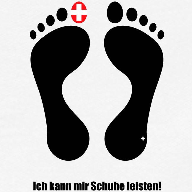 """Barfuss Schweiz Logo """"Ich kann mir Schuhe leisten"""""""