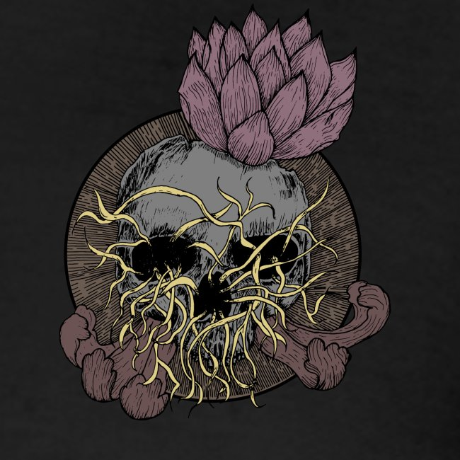 Skull tête de mort et fleur de lotus