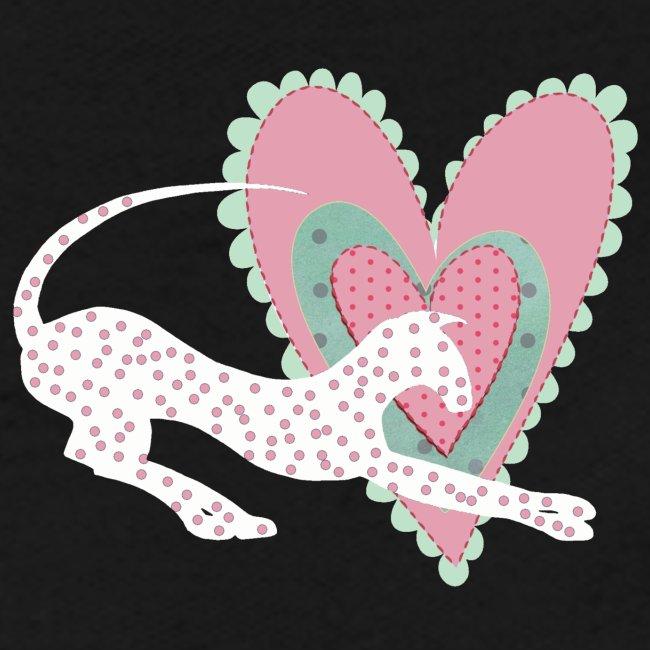 Vit katt rosa hjärta prickar