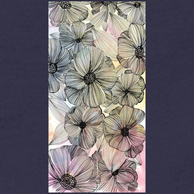Doodle fiori, inchiostro nero e acquerello