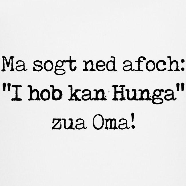 """Vorschau: Ma sogt ned afoch """"I hob kan Hunga"""" zua Oma - Baby Bio-Kurzarm-Kontrastbody"""