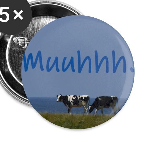 Kühe auf Deich - Buttons klein 25 mm (5er Pack)