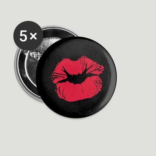 Kussmund - Rote Lippen Lippenstift Gesichtsmaske - Buttons klein 25 mm (5er Pack)
