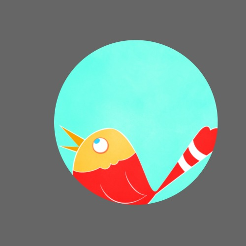 Oiseau rouge - Lot de 5 petits badges (25 mm)