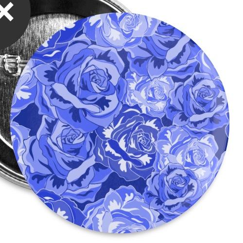 Blume Blumen blaue Blüten Rosen Muster - Buttons klein 25 mm (5er Pack)