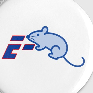 A blue E-mouse on a carpet! - Buttons small 25 mm