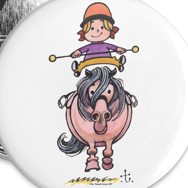 Thelwell Rider Balancing On Cute Horse