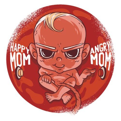 Happy Mom Angry Mom Umstandsshirt Schwangerschaft - Frauen Schwangerschafts-T-Shirt