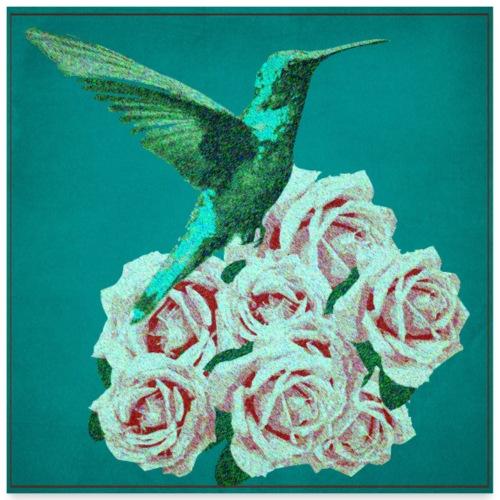 Blue Hummingbird - Poster 60x60 cm