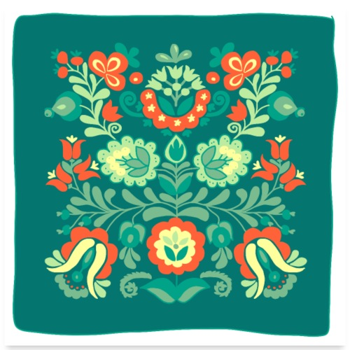 Hungarian Embroidery Flower - Poster 60x60 cm