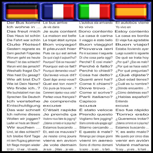 Poster Sprachen Edition 2 De | Fr | It | Sp - Poster 60x60 cm