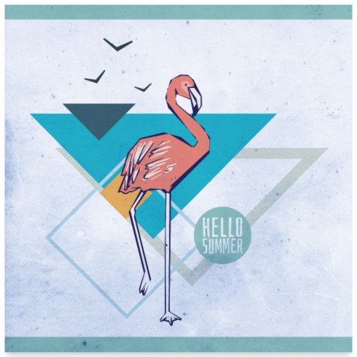 Flamingo hello summer Poster - Poster 60x60 cm