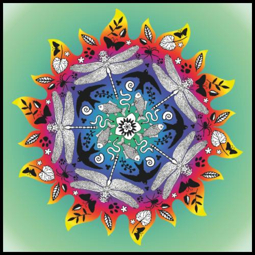 Sonne Mandala Poster - Poster 60x60 cm