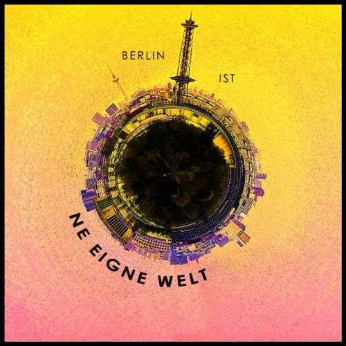Berlin als Erdkugel Collor - Poster 60x60 cm