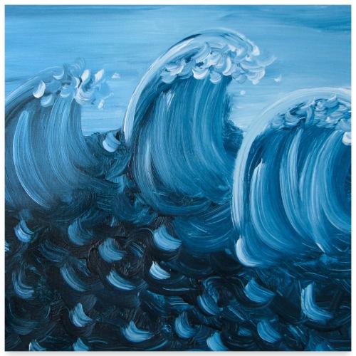 3 Wellen quadratisch - Poster 60x60 cm