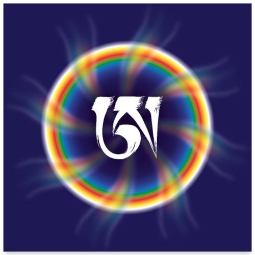 White Letter A Mandala Dzoghen of blue space - Poster 24 x 24 (60x60 cm)