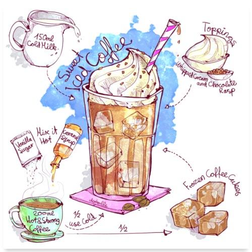 Rezept: Iced Coffee - Poster 60x60 cm