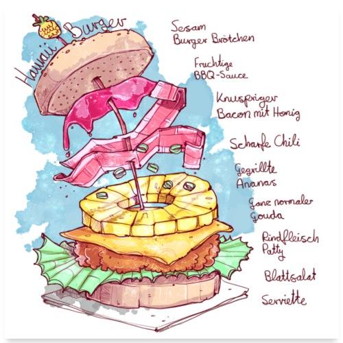 Rezept: Hawaii Burger - Poster 60x60 cm