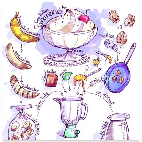 Rezept: Bananeneis - Poster 60x60 cm